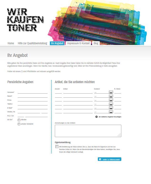 Neues Angebotsformular Wir Kaufen Toner Ankauf Toner Vollgut Und