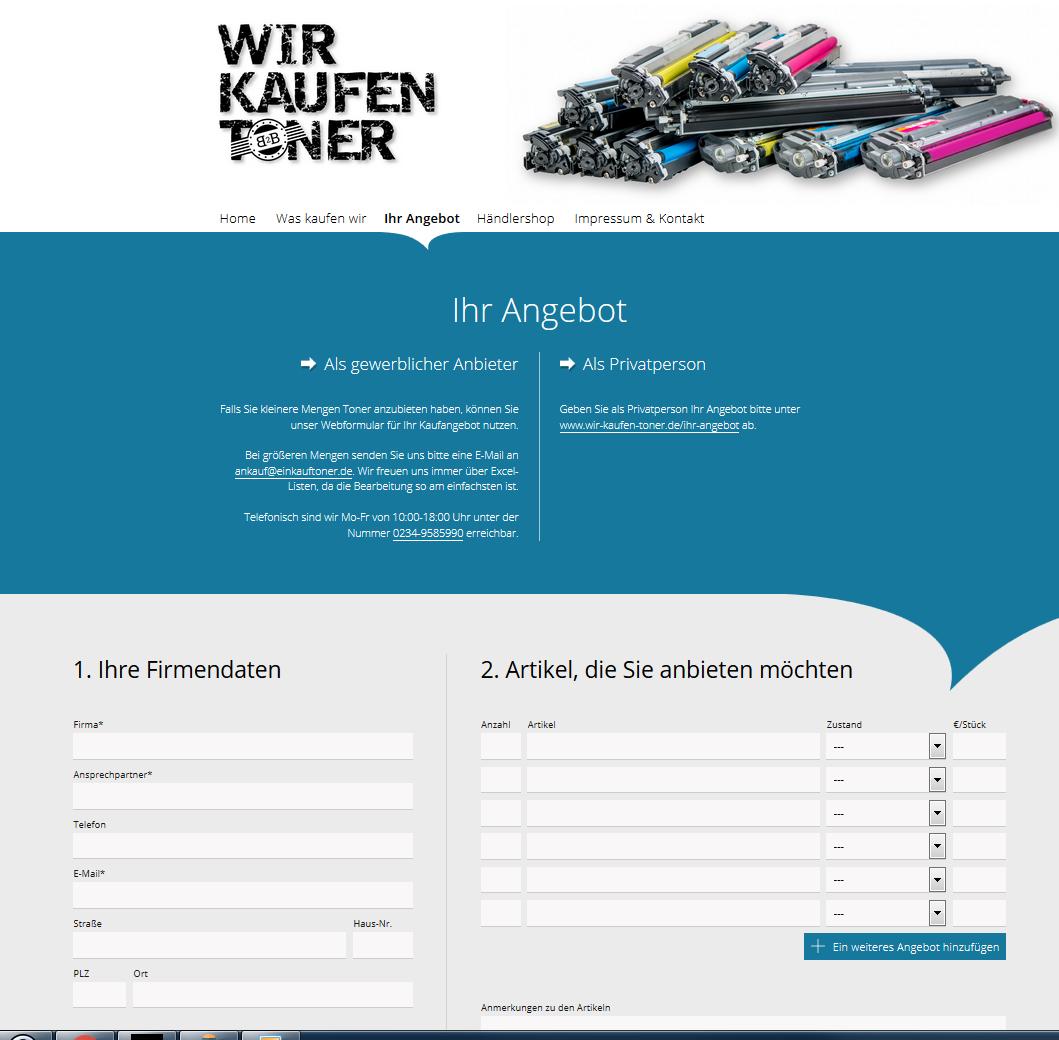 neue Seite Formular Tonerankauf