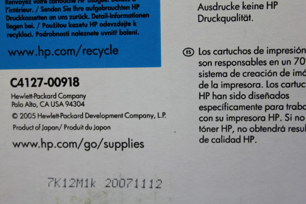 HP Toner Produktionsdatum 2